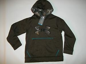UNDER ARMOUR Youth CALIBER Realtree CAMO HOODIE Sweatshirt Boys S  SMALL NEW