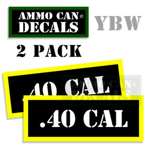 40 CAL Ammo Label Decals Box Stickers decals  2 Pack BLYW 3x1.15inches .40 CAL