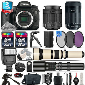 Canon EOS 7D Mark II DSLR Camera + 18-55mm + 55-200mm + 3yr Warranty -64GB Kit