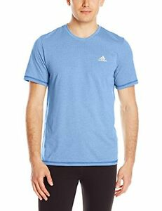 adidas Men's Aeroknit Short Sleeve Tee Bright Royal BlueColored Heather Medium