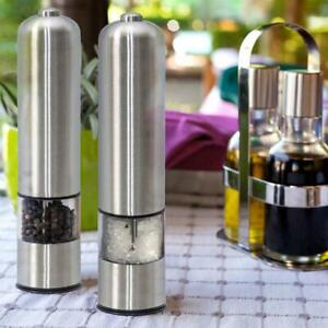 New 2pcs Electric Spice Sauce Salt Pepper Stainless Steel Mill Grinder W/