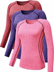 Neleus Women's 3 Pack Dry Fit Long Sleeve't Shirt Compression Base Layer 8021P