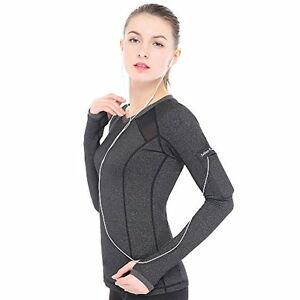 Women's Yoga Gym Running Workout Sports Drying Tee Long Sleeve Shirt For Solitar