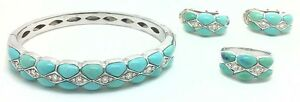 NATURAL TURQUOISE & DIAMONDS Elegant 18k White Gold RING BANGLE EARRINGS SET