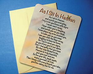 quot;As I Sit In Heavenquot; Memorial Poem Greeting Card Blank Inside sku# 713