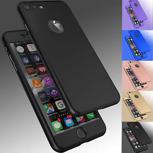 For iPhone 8 6S 7  7 Plus Ultra Thin Slim Hard Case Cover+ Tempered Glass