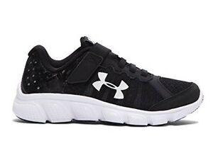 NIB UNDER ARMOUR Black White Little Boys' Micro G Assert 6 Running Sneakers 13K
