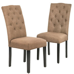 Set of 2 Coffee Fabric Contemporary Elegant Design Dining Chairs Home Room B85