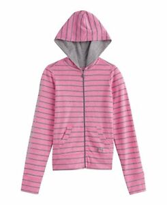 NEW Under Armour Youth XL Girls UA Full Zip Cotton Jersey Hoodie Pink Gray Hoody