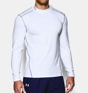 NWT UNDER ARMOUR WHITE COLD GEAR MOCK NECK COMPRESSION FIT BASE LAYER SHIRT XL