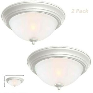 Commercial Electric 13 in 2-Light White Flush Mount Frosted Glass Ceiling 2-Pack
