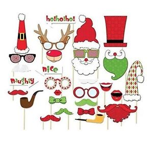 NEW 29PCS Christmas Photo Booth Props Lips Deer Moustache On A Stick For Party