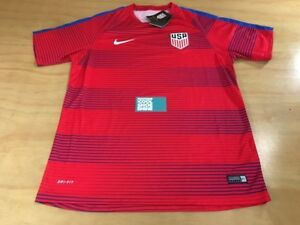 Nike Dri-Fit USA Men's National Soccer Team Short Sleeve Jersey Sz L Red Navy