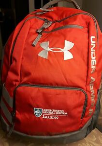 UNDER ARMOUR Storm1 Reflective  Backpack Red Grey MGH patch EUC!