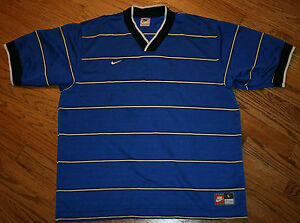 NIKE Team Sports blue striped v-neck Shirt Top Men's Large golfrunning soccer