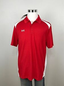 Under Armour Mens Red Large Polo Shirt Performance Colorblock Loose Heatgear NWT