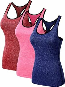Neleus Women's 3 Pack Dry Fit Compression Long Tank Top8007RedBluePinkM
