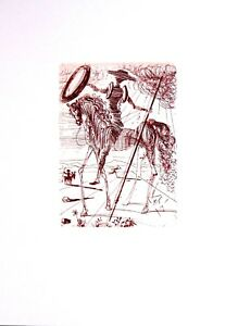 Salvador Dali Etching Don Quixote Spanish Immortals Sepia Circa 1960#x27;s C $599.00