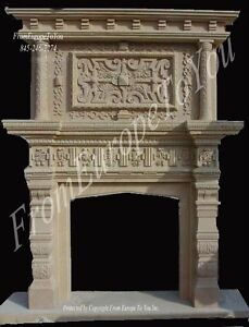 GREAT HAND CARVED SANDSTONE FIREPLACE MANTEL