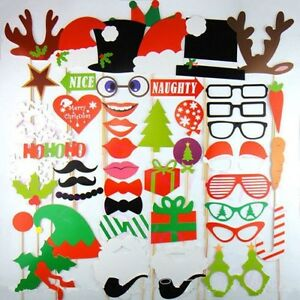 NEW 50PCS Christmas Photo Booth Props Lips Deer Moustache On A Stick For Party