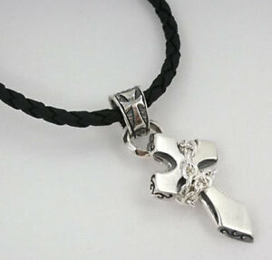 TINY CHAINED CROSS 925 STERLING SILVER PENDANT LEATHER CHAIN NECKLACE MEN'S ROCK