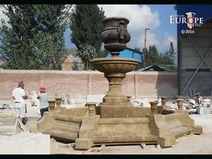 MASSIVE HAND CARVED ANTIQUE STONE AND IRON OUTDOOR ESTATE FOUNTAIN - JXSF1