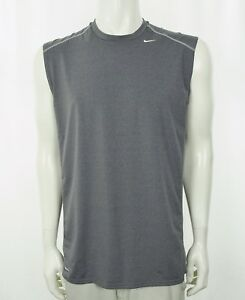 Nike Fit Dry Gray Workout Training Gym Athletic Shirt Mens Large