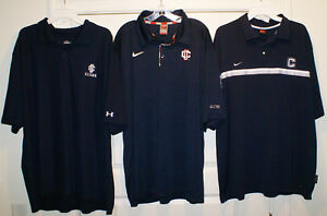 3 UCONN Huskies University of Connecticut Polo Shirts * 2 Nike + 1 Under Armour
