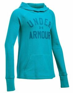 NEW Under Armour Youth Girls UA Pullover Waffle Hoodie Loose LS Shirt SMALL Blue