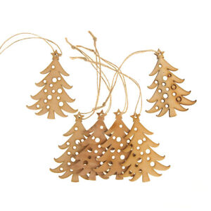 Hanging Wooden Laser-Cut Christmas Tree Ornament, Natural, 6-Piece