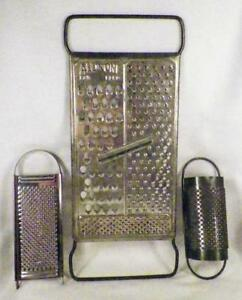 3 Food Graters Kitchen Tools Slicers Shredders Tin & Stainless Cheese Nutmeg