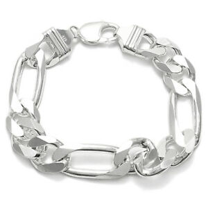 925 Sterling Silver Men's Figaro Link Chain Bracelet 13mm (350 Gauge)