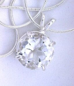 14mm Round White Topaz Gemstone Sterling Pendant Necklace FREE Chain EBS42