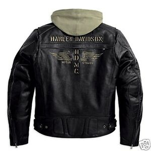 Harley Davidson Men Trek HDMC Wing Black Leather Jacket Hoodie 3in1 M 97193-10VM