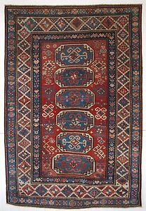 ANTIQUE CAUCASIAN MOGHAN KAZAK RUG WITH OCTAGON DESIGN GREAT COLOUR CIRC 1870.