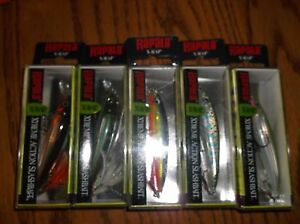 RAPALA X-RAP-08's--lot of 5 DIFFERENT COLORED-FISHING LURES-XR08