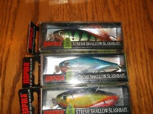 RAPALA X-RAP SHAD SHALLOW 08's--lot of 3 DIFFERENT COLORED-FISHING LURES-XRSH08
