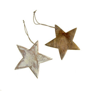 Hanging Wooden Star Christmas Tree Ornament, 5-1/2-Inch
