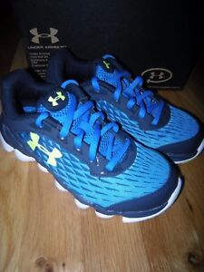 New Boys Blue & Yellow Under Armour BPS Spine Disrupt Tennis Shoes Size 1