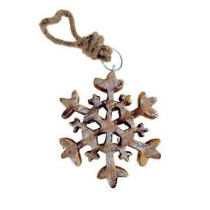 Hanging Wooden Stellar Dendrite Snowflake Christmas Tree Ornament, Gold, 4-1/2-I