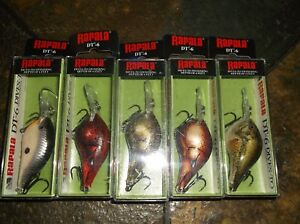 RAPALA DT-06's--lot of 5 DIFFERENT COLORED-FISHING LURES-DT06