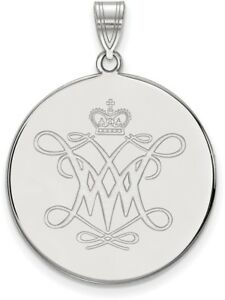 Sterling Silver William amp; Mary XL Disc Pendant by LogoArt