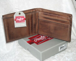 RAWLINGS LEATHER NFL Football Stitch Men's Bi-fold WALLET (BROWN) New In Box!