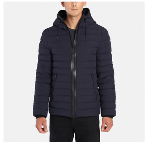 New Mackage Men's Navy Ozzy Leather Trim Quilted Down Hoodie Jacket Size 42