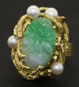 Vintage 14K 16.5x10.9mm carved Green jade & 4.3mm pearl cocktail ring size 6.75
