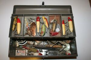 Vintage Simonsen tackle box full of vintage fishing lures and equipment