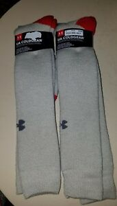 Lot of 2 NWT Under Armour Cold Gear Performance Over the Calf Socks XL Cushion
