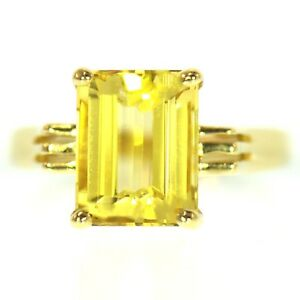 2.50 CT CITRINE COCKTAIL RING 14K YELLOW GOLD NATURAL EMERALD CUT VINTAGE ESTATE