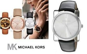new + box women's MICHAEL KORS MK2483 KEMPTON Shiny Black Leather Bracelet WATCH