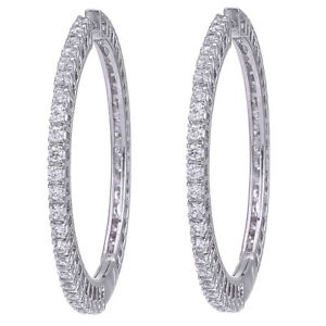 CZ Round Hoop Earring Swarovski Elements 18k White Gold Plated  D2